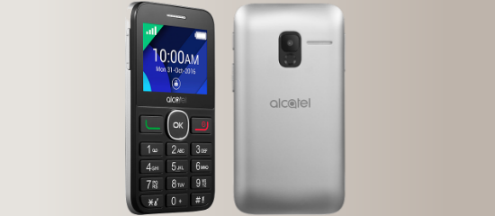 The Alcatel 2008G in silver and black