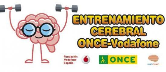 Entrenamiento Cerebral ONCE-Vodafone. Logos de ONCE, Fundación Vodafone España y UNOBRAIN