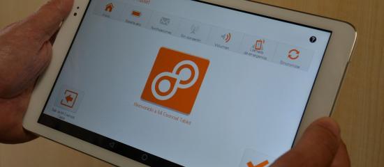 Interfaz de la app vista desde una tableta